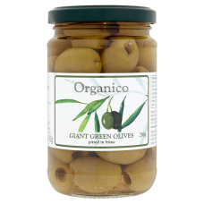 """Pitted Giant Green Olives in brine (was """"with herbs"""") 280g"""